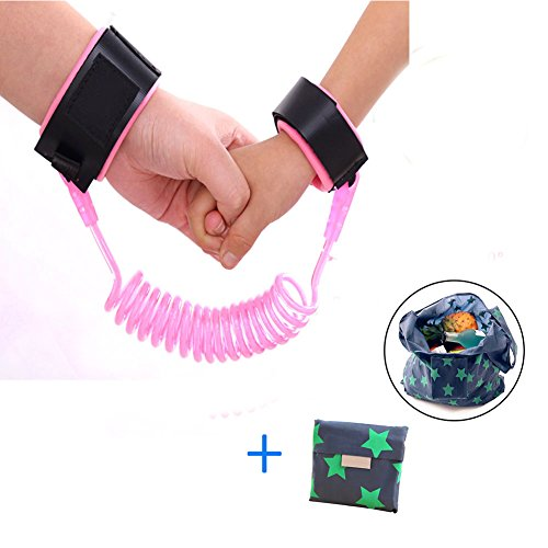 Rosa Bungee-seile (Aliyao Anti verloren Gürtel, Baby Handgelenk Antiverlust Gürtel Sicherheit Leine Wrist Link Gurt Sicherheit Armband 1.5 m/2.5 m für Baby, Kind Seil Leine Hand Gürtel (2.5M, Rosa))