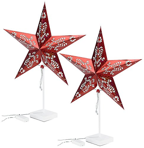 Lunartec Stern: Deko-Tischleuchte in Sternform, rot, 2er-Set (Deko-Stern-Leuchte)