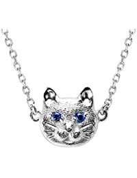 Jewboo S925 Sterling Silver A Cat Is Fishing Simple cat shape Necklace Pendant Gift