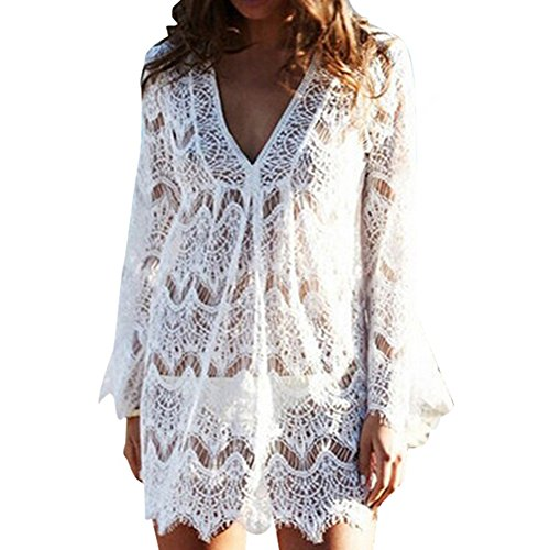 Vandot Sexy Damen Fashion Hollow Bikini Sommer Bikini Cover Up Häkeloberteil Spitze Strandkleid Bademode Dress Up Jacke Pullover Bluse Shirt Tops Sexy Beach Lace Bikini Dress, weiß M (Dress Up Bikini)