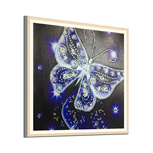 Xmiral Diamant-Malerei 5D Embroidery Paintings Rhinestone Pasted DIY Diamond Painting Cross Stitch Schmetterling 30x30cm (Blue)
