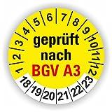 5 - 1.000 Stück Prüfplaketten Prüfetiketten Wartungsetiketten BGV A3 Prüfung Ø 20mm (Gelb 250 Stück)