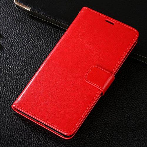 Gionee M6 Plus Hülle,CHENXI Pu Leder Wallet Case Flip Cover Hüllen mit 3 Kartenfächern Magnetverschluss mit Standfunktion Handy Tasche für Gionee M6 Plus Rot