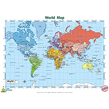 Laminated world map poster with flags new encapsulated 36 x 24 little wigwam world map no tear guarantee educational poster 60 x 42cm gumiabroncs Images