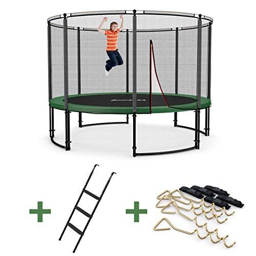 Ampel 24 Deluxe Outdoor Trampolin 366 cm mit Netz, Leiter & Windsicherung | Gartentrampolin mit dem Maximum an Sicherheit | Belastbarkeit 160 kg