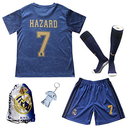 2019/2020 Real Madrid #7 Eden Hazard Auswärts Auswärtstrikot Kinder Fußball Trikot Hose und Socken Kindergrößen (Auswärts, 28 (11-12 Jahre))