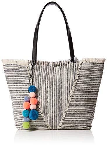 New Look Frayed Stripe Shopper, Cabas femme, Blanc (White Pattern), 13x25x34 cm (W x H L)