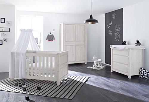 Pinolino 3-tlg. Kinderbett, Breite Wickelkommode mit Wickelaufsatz und Kleiderschrank