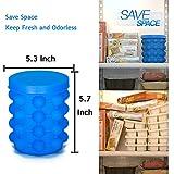 Ice Genie Eiswürfelbehälter Silikon, 2 in 1 Eiswürfelformmit Deckel 120er Ice Cube Eiseimer für Familie, Partys und Bars (blau)