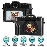 Digitalkamera Fotoapparat Digitalkamera 2.7K 30FPS 30.0MP 3.0 Zoll Flip Screen 16X Digitalzoom Kompaktkamera Minikamera