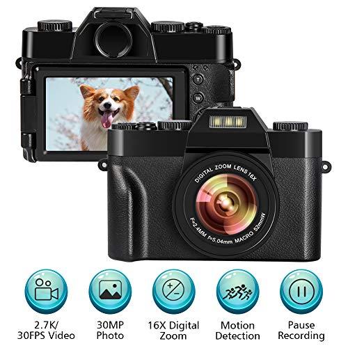 Appareil Photo Numérique Vlogging Caméra Appareil Photo 2.7K 30FPS 30.0MP 3.0 Pouces Ecran à Basculement 16X Zoom Numérique Compact Caméra Mini Caméra