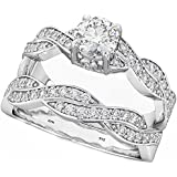 BestTohave Infinity Twist Design Ladies 925 Sterling Silver Luxury Unique Affordable Wedding Engagement Bridal Ring Set