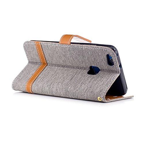 Custodia per Huawei P10 Lite, ISAKEN Flip Cover per Huawei P10 Lite con Strap, Elegante Bookstyle Contrasto Collare PU Pelle Case Cover Protettiva Flip Portafoglio Custodia Protezione Caso con Support Marrone+grigio