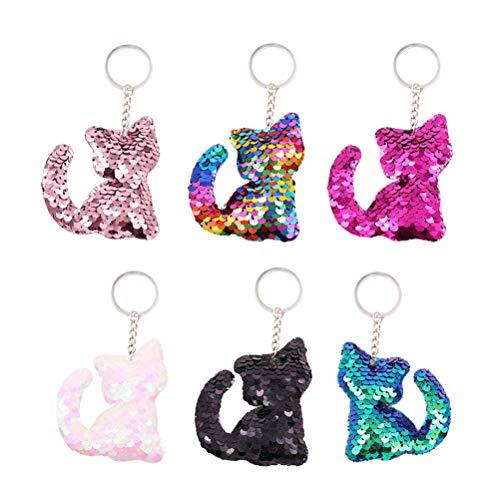 Toyvian Flip Pailletten Keychain Katze Form Schlüsselanhänger Hängende Keychain Dekoration für Party Supplies 24 Stück Flip Handy Form