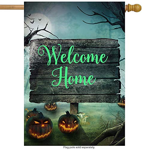 Forest Lawn Memorial (Halloween Pumpkin Mushroom House Flag Double Sided, Polyester Autumn Gothic Mysterious Forest Welcome Yard Garden Flag Banners for Patio Lawn Home Outdoor Decor Size: 12.5-inches W X 18-inches H)