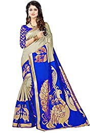 Rensil Women's Bhagalpuri Art Silk Saree (REX.NILKANTH BLUE_Blue_Free Size)