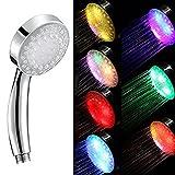 THEE Regenbogen 7 Farbe Wechselnde LED Licht Duschkopf Handheld für Bad Wasser-Angetrieben