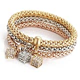 Armband Damen Armbänder DAY.LIN 3pcs Charm Frauen Armband Gold Silber Rose Gold Strass Armreif Schmuck-Set (G)