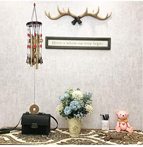 Windspiel, Bronze, 4 Metall-Zylinder, 5 Glocken, 60cm lang, für Garten, Ornament für den Außenbereich - 4