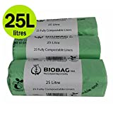 25 x L 75 Sacchetti compostabili, Caddy per cucina per Compost Biobag-Sacchetti per rifiuti, con posacenere, EN 13432 Biobags-Sacchi per la spazzatura a pedale, con guida al compostaggio