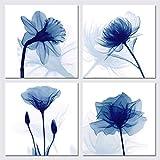 Wieco Art Tela artistica da parete con immagini floreali blu, moderne e astratte, 4 pannelli, per camera da letto, ufficio, decorazione per la casa, Blu, 12x12inchx4pcs
