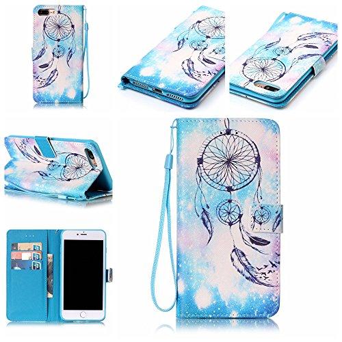 Ooboom® iPhone 5SE Coque PU Cuir Flip Folio Housse Étui Cover Case Wallet Format Portefeuille Support Pochettes Cartes pour iPhone 5SE - Paume Attrapeur de Rêves Bleu