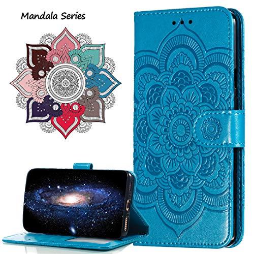 MRSTER Funda para Xiaomi Redmi Note 6 Pro, Estampado Mandala Libro de Cuero Billetera Carcasa, PU Leather Flip Folio Case Compatible con Xiaomi Redmi Note 6 Pro. LD Mandala Blue