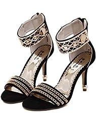 Bomba 9 cm Estilete Scarpin Correa de tobillo Ante Zapatos de boda Zapatos De Vestir Mujer Encantador Punta abierta Hueco Metal Remaches Cadena Cremallera romano Zapatos de la Corte Zapatos de fiesta , black , 40