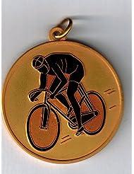 5medallas premiazione Deporte–Ciclismo–Manivela mm 35latón dorado esmaltado–Made in Italy