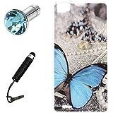Lusee® Funda de silicona para Cubot X16 X17 X17S Suave Cascara TPU mariposa azul