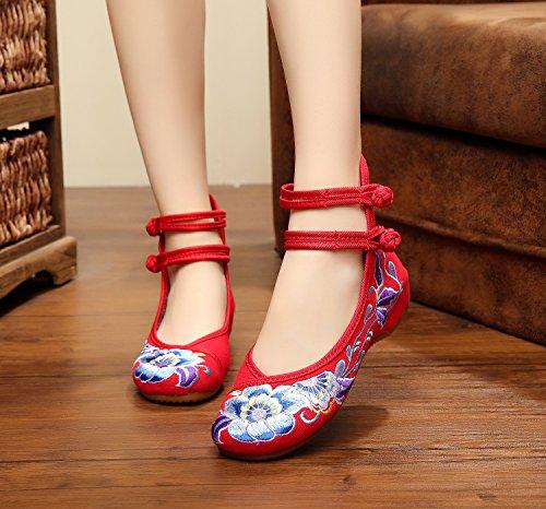 ZQ Weiche Unterseite gestickte Schuhe, Sehnensohle, ethnischer Art, femaleshoes, Art und Weise, bequeme, beiläufige Segeltuchschuhe Red