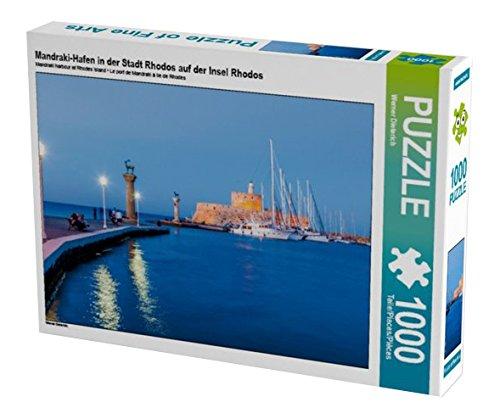 Preisvergleich Produktbild Mandraki-Hafen in der Stadt Rhodos auf der Insel Rhodos 1000 Teile Puzzle quer (CALVENDO Orte)