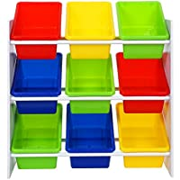 SONGMICS Toy Storage Unit with Anti-toppling Device and 9 Plastic Boxes Toy Storage Rack, 65 x 27 x 60 cm (W x D x H), GKR01W