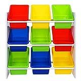 Songmics Kinderregal Spielzeugregal Kinder Aufbewahrungsregal mit Kippschutz 9 farbige Kisten aus Kunststoff, 65 x 60 x 26.5 cm (B x H x T), GKR01W