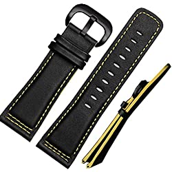 NW Leather Watch Strap 28mm Black Buckle Stitches Sitable Sevenfriday Yellow Edge