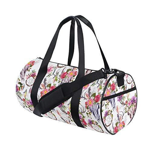 PONIKUCY Bolsa de Viaje,Cráneos Ciervo Flores Atrapasueños Atrapasueños,Bolsa de Deporte con Compartimento para Sports Gym Bag