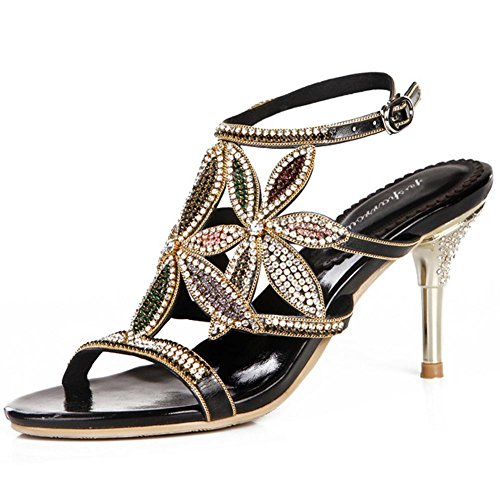d667ca4ca7974f crystal sandals women diamond handmade thin high heels leather night club  party strap buckle hollow evening banquet pumps shoes . black . 39