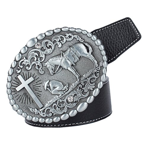 F Fityle Adjustable Belt with Western Cowboy Style Oval Buckle for Office Business Suit Pants - black, buckle horse rider