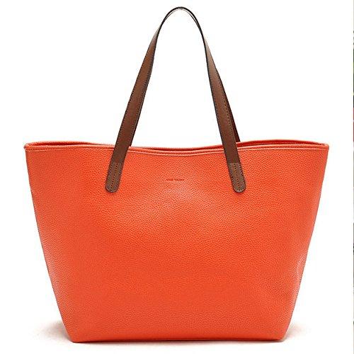 Mefly Unica Borsa A Tracolla Tote Bag Goffrata Arancio Semplice Orange