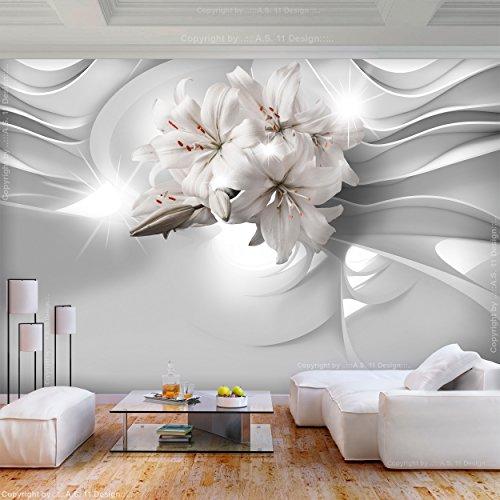 decomonkey | Fototapete Blumen Lilie 400x280 cm XL | Tapete | Wandbild | Wandbild | Bild | Fototapeten | Tapeten | Wandtapete | Wanddeko | Wandtapete | Abstrakt weiß | FOC0026a84XL