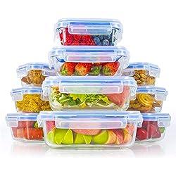 Zestkit Boîte Alimentaire en Verre avec Couvercles Hermétiques Lot de 10, Boite Conservation sans BPA, Récipient Verre 6 Carrées et 4 Rectangulaire