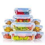 Zestkit Set de 10 Recipientes Herméticos de Vidrio, Contenedores para Alimentos Rectangulares y Cuadrados, Prueba de Fugas, Caja Fuerte para Congelador, Microondas y Lavavajillas