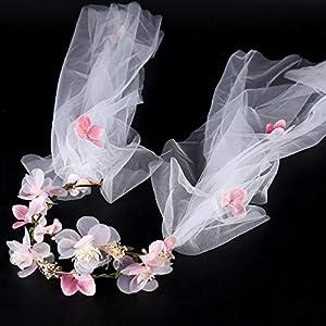 FengJingYuan-ZHUBAO Braut Kinderkranz Kopfbedeckung Sweet Style Hochzeitsschleier Pink blüht Brauthirte Schleier Stirnband