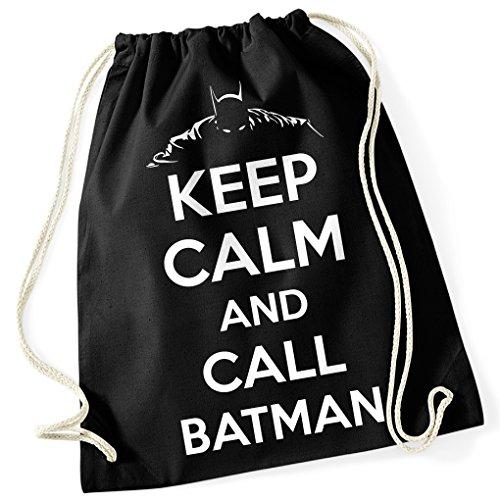 Fledermaus / KEEP CALM AN CALL BATMAN / Gotham Knight / Silhouette / 100% Baumwoll Turnbeutel mit Aufdruck und Motiv / Unisize, Onesize, Unisex / Ideales Geschenk / Rucksack, Beutel, (Kostüme Bösewicht Gruppe)