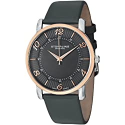 Stuhrling Original Symphony Corona Men's Quartz Watch with Grey Dial Analogue Display and Grey Leather Strap 183.33A5N54