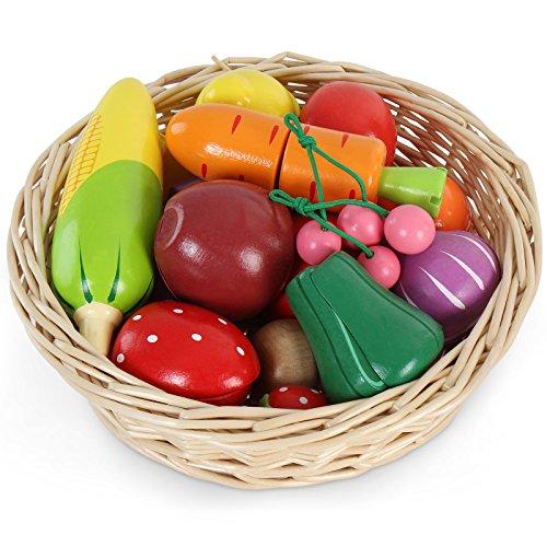 Infantastic - Juguete para cocina - Cesta con frutas y verduras (de madera para cocina infantil) - 19 piezas