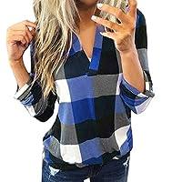 Xinxinyu Tartán Camiseta V Cuello Mujeres, Algodón Holgado Sudadera Pullover, Ultra Ligero Casual Manga Larga Blusas Tops Verano Otoño (XL, Azul)