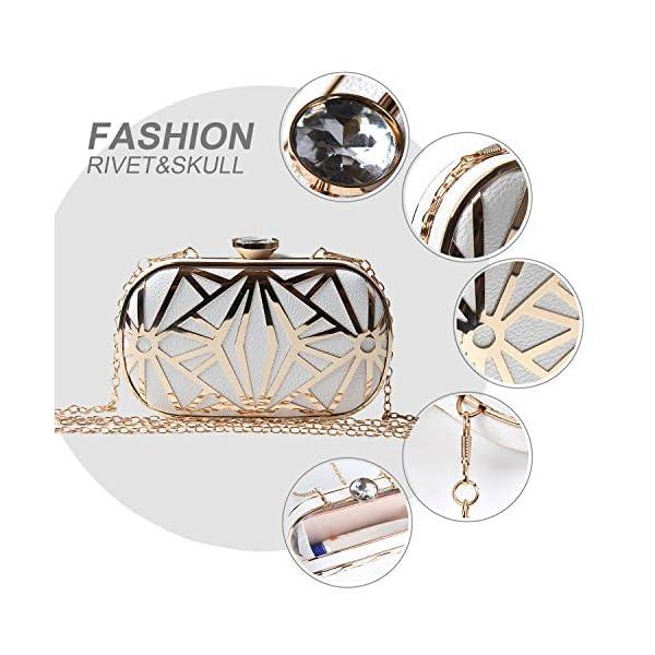 517l8SdIoeL. SS600  - LUI SUI Las Mujeres de Cuero de imitación de Metal Hueco Bolsa de Embrague exquisitos Bolsos de Noche Bolsas de Hombro…