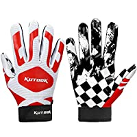 ‏‪Kutook Football Gloves Pro Sticky Receiver Gloves Padded Breathable for Adult and Youth Large red‬‏