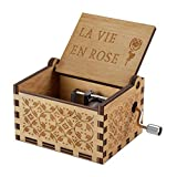 NNDUO Wood Music Boxes- La Vie En Rose Carved Hand Crank Musical Box Wooden Classic Handmade Engraved Valentines Birthday Gift for Kids, Boys, Girls, Friends